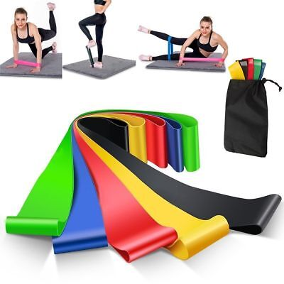 Resistance Bands Loop Set of 5 Exercise Workout CrossFit Fitness Yoga Booty US