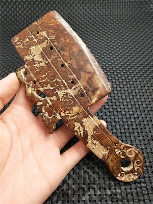 Antique Reproduce Chinese Red Old Jade Dragon Knife Coin Statue Weight 121.8g