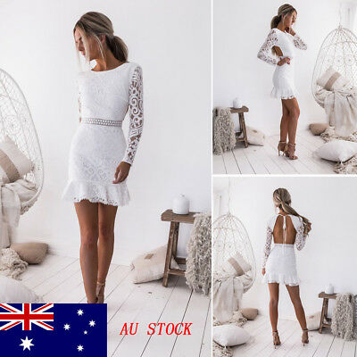 AU STOCK Sexy Women Lace Backless White Short Mini club party evening mini dress
