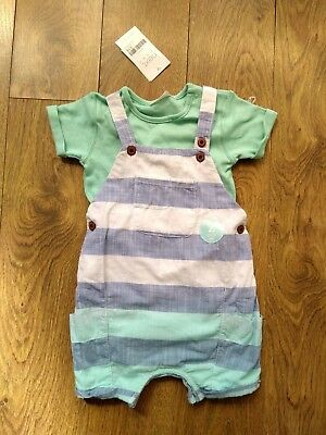 Boys Next Summer Short Dungarees Outfit 9-12 Months Romper With Bodysuit BNWT