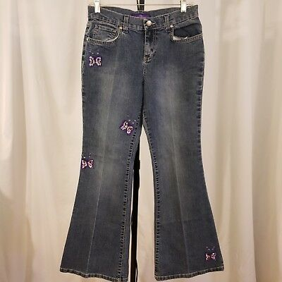 Jordache jeans VTG flared High Waist stone wash Butterflies hippy Girls Sz 16