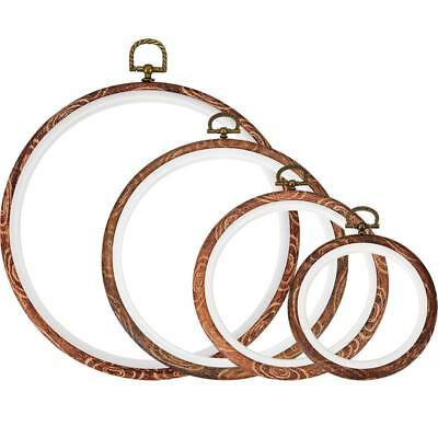 F0F8 4 Pieces Embroidery Hoop Cross Stitch Hoops Imitated Wood Embroidery Circle