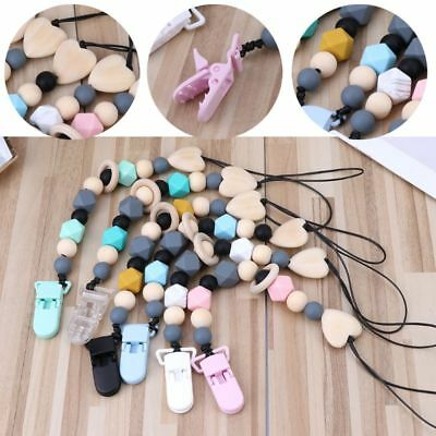 Silicone And Wood Pacifier Clip Wooden Bead Dummy Clip Holder Soother Chains