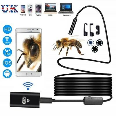 WIFI Endoscope Wireless 8mm IP67 Borescope Inspection Camera for iPhone Android