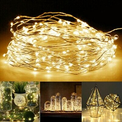 1-10m 20/50/100 LED Battery Powered Copper Wire String Fairy Xmas Party Lights