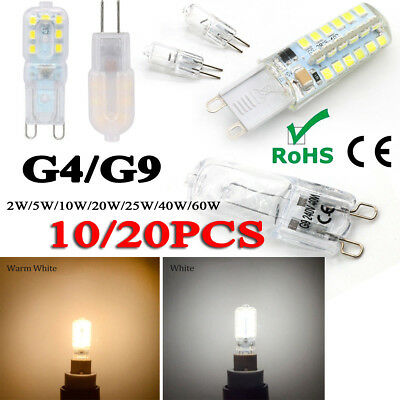 10/20pcs G9 G4 LED Halogen Capsule Lamp Light Bulb White 2/5/10/20W 25/40/60W CE
