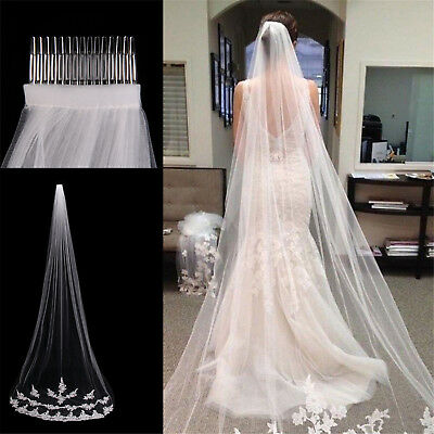 White Ivory 1T Cathedral Applique Edge Lace Bridal Wedding Veil With Comb 3M L1