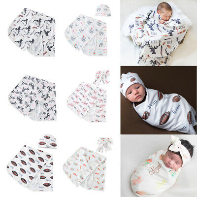 Newborn Blanket Headband Hat Set Baby Boy Girl Swaddle Cotton Sleeping Bag Wrap