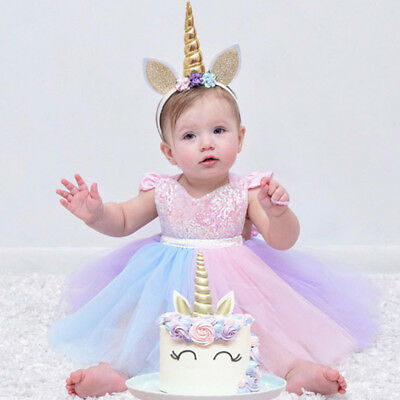 f077fc5d1e11 UNICORN RAINBOW CAKE Smash Outfits For Baby Girl Romper Tutu Dress ...