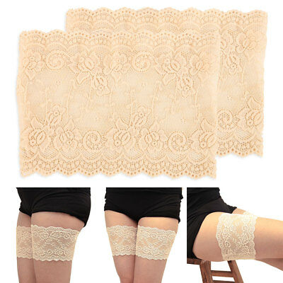 1pair Women Lace Pocket Elastic Non-slip Anti-Chafing Thigh Bands Thigh Socks