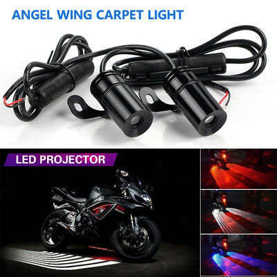 2x LED Angel Wings Projector Welcome Side Lights For Motorcycles Motor Vehicles