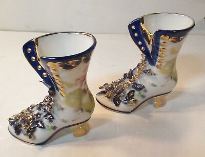 Limoges China Porcelain Victorian High Top Boot Hand Painted Vintage