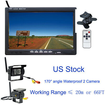 "Wireless 7"" Monitor for RV Truck Bus +Wireless Rear View 170° Angle 2 Camera Kit"