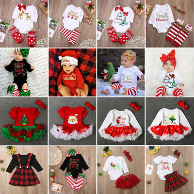 Newborn Baby Girls Christmas Clothes MY 1st CHRISTMAS Romper Tutu Outfits Set
