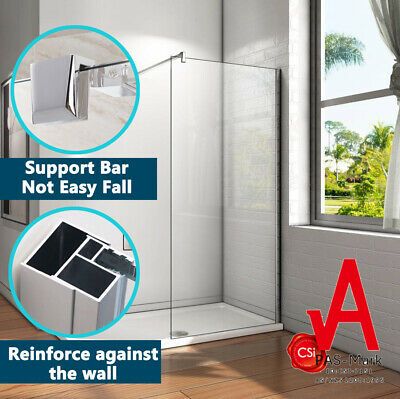 800-1200mm Frameless Shower Screen Enclosure Fixed Panel Walk in Safety Glass
