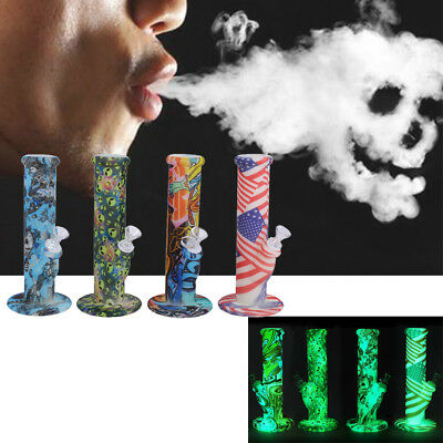 Giow In The Dark Silicone Hookah Water Smoking Pipe Bongs Tobacco Bubbler Kit