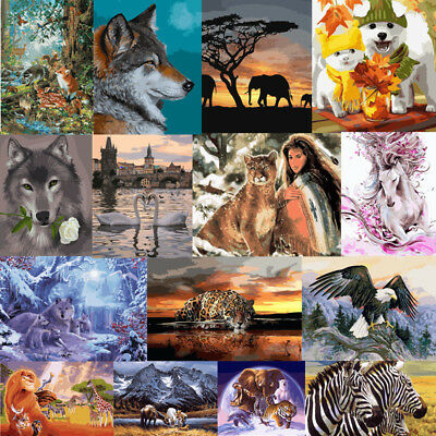 Painting DIY Canvas Paint By Number Kit Art Home Wall Decor Animals Santa Gift