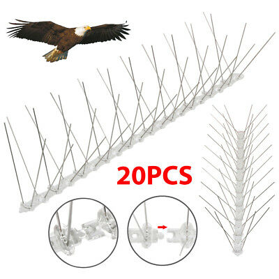 20Pcs X 50CM Bird Spikes Wall Fence SS304 PP Bird Repeller Deterrent Fence Spike