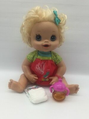 2010 Hasbro Baby Alive Interactive Talks Poops Pees Rare! Blonde Hair Blue Eyes