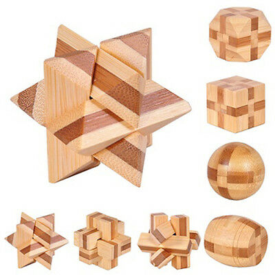 Wooden Kongming Lock Brain Teaser Puzzle Kids Adults Educational Game Toy Nice