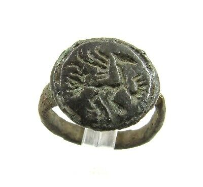Authentic Medieval Viking Era Bronze Ring W/ Dragon - Wearable - G556