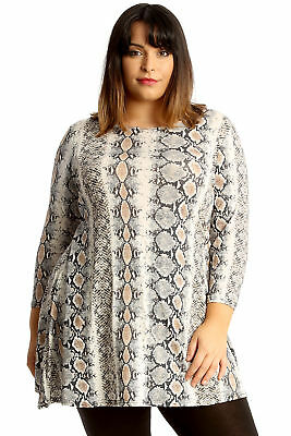 f58af1010a New Womens Plus Size Swing Top Ladies Skater Tunic Snake Skin Animal Print  Thick