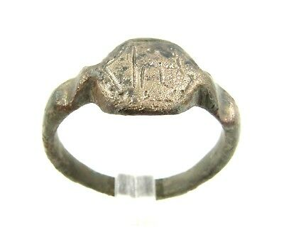 Authentic Medieval Viking Bronze Ring W/ Warrior - Wearable - G559