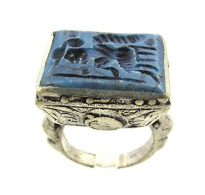 Authentic Post Medieval Silver Ring W/ Intaglio Lapis Warrior - Wearable - G562