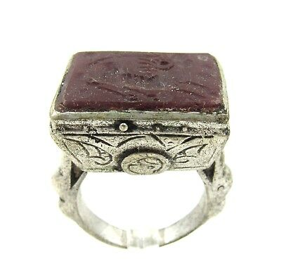 Authentic Post Medieval Silver Ring W/ Carnelian Horse - Wearable - G563