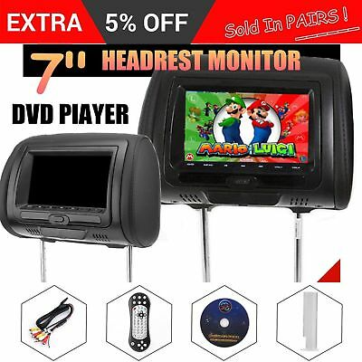 7inch Black Car Headrest Monitors w/DVD Player/USB/HDMI Speakers + Games QW