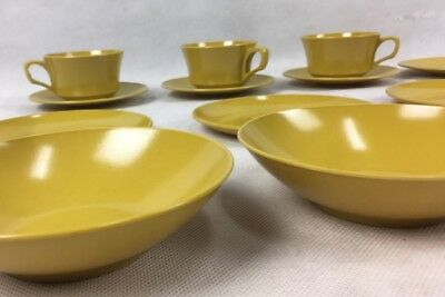 15 pc Melamine Mustard Yellow Duo Cup and Saucer Set Plates VGC Caravan 1970s