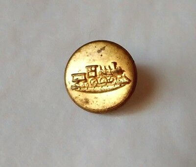 Antique Vintage Train Railroad Locomotive Brass Button Sewing Notion