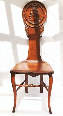 Antique~Vintage Rock Maple Trojan Face~Carved Back Accent Chair ~Michigan State
