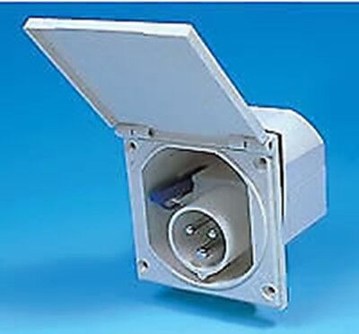 240v WHITE FLUSH FITTING MAINS 3 PIN INLET BOX CARAVAN MOTORHOME