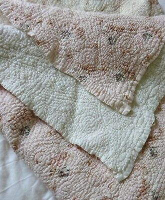 Pretty Small Hand Stitched Quilt Throw Antique Early 1900's Durham Floral Pink