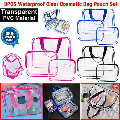 Set of 3 Pcs Cosmetic Makeup Toiletry Clear PVC Travel Wash Bag Holder Pouch Kit