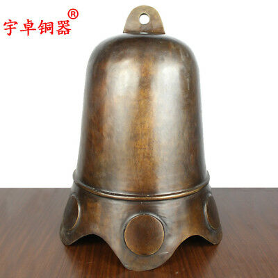 "20"" China old antique bronze copper bell clock statue Collection Pendant"