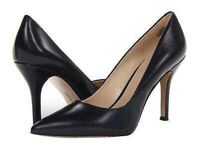 Nine West Women's NWFLAX Black Lamb Skin Leather Pointed Toe Pumps Shoes-Special