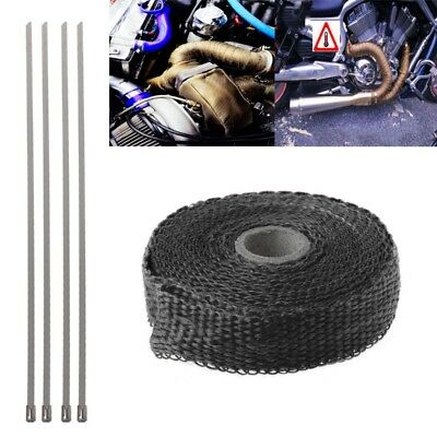 5M Motorcycle Turbo Manifold Heat Exhaust Wrap Tape Thermal Stainless Ties Black