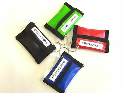 10 x Dura Wipe Down CPR Key Ring Pouches with Face Shield & CPR Instructions