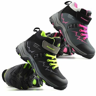 Boys Girls Kids Casual Waterproof Winter Warm Ankle Boots Trainers Shoes Size