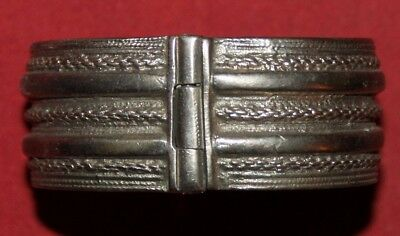 Antique Greek Silver Hand Made Hinged Cuff Bracelet
