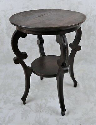 """Antique 19th Century Wood Carved Plant Stand Pedestal Side Table 17.75"""" Signed"""