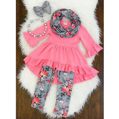 Toddler Kids Baby Girls Clothes Outfits Ruffle Tops Dress+Floral Pants+Scarf Set