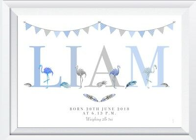Personalised baby child flamingo print picture nursery wall decor gift artwork