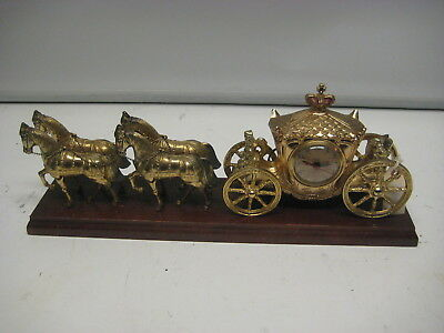 1940's Vintage United Clock CO.Horse And Carriage Mantel Clock