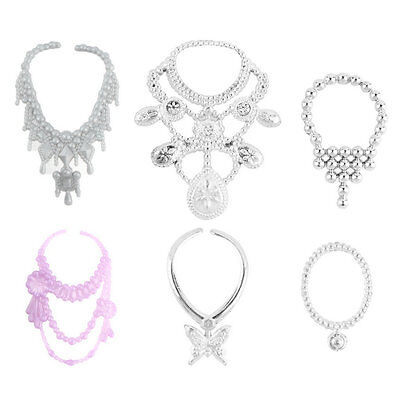 6pcs Fashion Plastic Chain Necklace For Barbie Doll Party Accessories HN