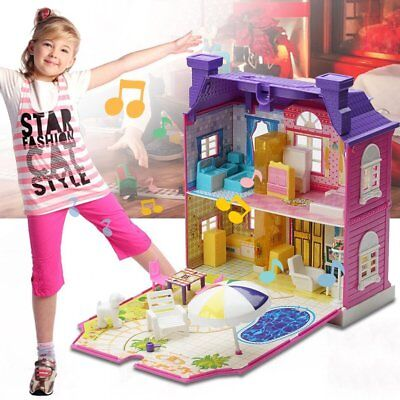 Girls Doll House Play Set Pretend Play Toy for Kids Pink Dollhouse Children FA H