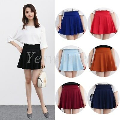 98d54200ed935 Womens Basic A Line Pleated Circle Stretchy Flared Skater Skirt Plus size