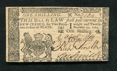 NJ-152 DECEMBER 31, 1763 1s ONE SHILLING NEW JERSEY COLONIAL CURRENCY NOTE (B)